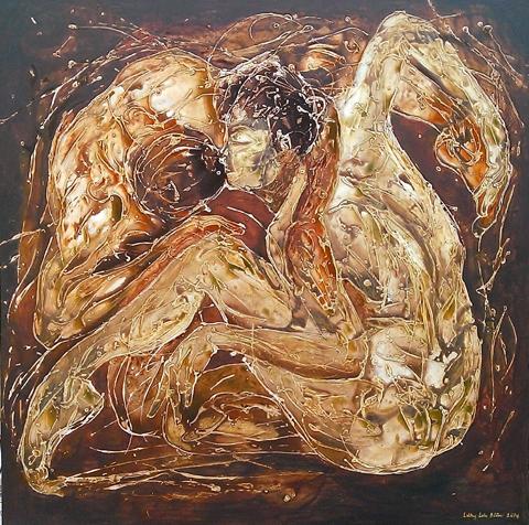 Tác phẩm Nụ hôn (tổng hợp, 120 x 120 cm, 2015) của Lương Lưu Biên.