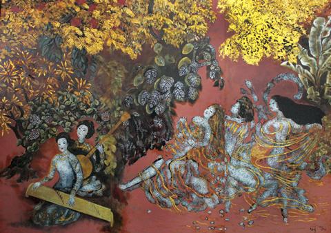 Quán quân về giá khởi điểm, bộ ba sơn mài Trong vườn của Nguyễn Gia Trí.