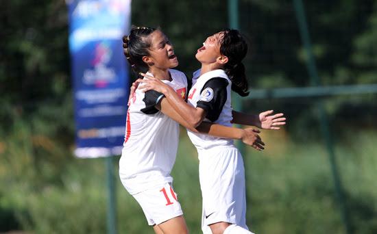 Niềm vui chiến thắng của các cầu thủ U14 nữ Việt Nam- Ảnh: Tuấn Tú