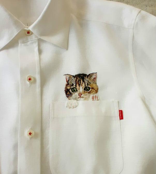 Áo sơ mi xinh xắn có hình mèo