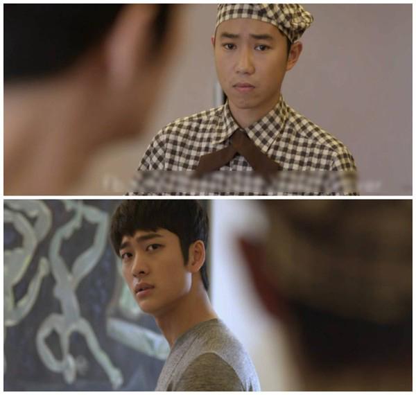 Quang Minh và Kang Tae Oh trong một cảnh quay.