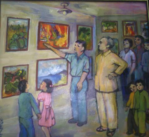 Bác Hồ xem triển lãm mỹ thuật, sơn dầu của Hoàng Kim Tiến.