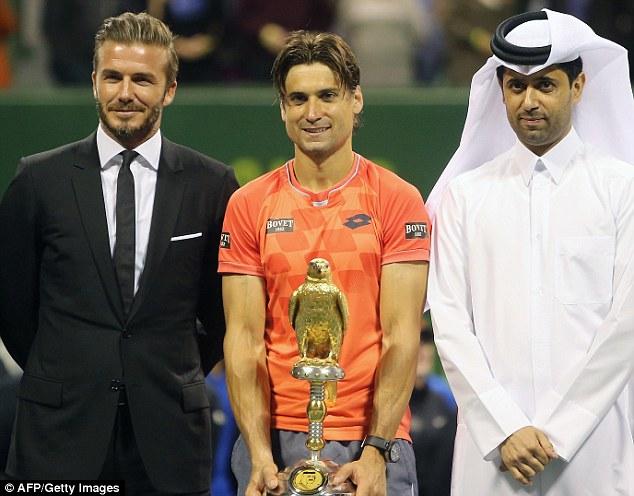 Cựu ngôi sao bóng đá Anh, David Beckham góp mặt tại buổi lễ trao giải Qatar Open 2015
