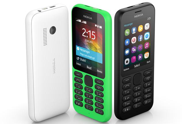 Nokia 215 có 3 màu sắc để lựa chọn là trắng, đen và xanh lá cây