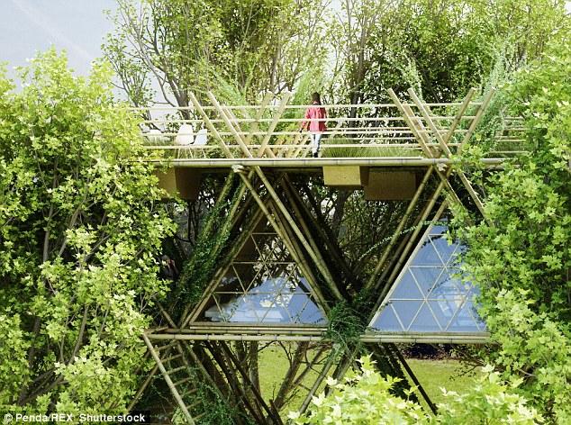 One With The Birds Treehouse ở Trung Quốc lấy cảm hứng từ những chiếc tổ chim. Toàn bộ khối kiến trúc đều được làm bằng tre với tính toán kỹ lưỡng.