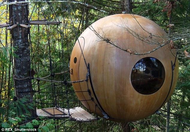 Ngôi nhà cây độc đáo giống với trái bóng tròn này ở Qualicum Beach, Canada. Toàn bộ kiến trúc này được giữ bởi một hệ thống dây thừng rất phức tạp, cùng lối đi lên uốn lượn xung quanh thân cây khá cầu kỳ.