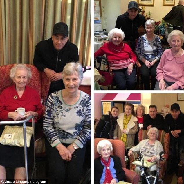 Ngôi sao mới nổi của Man Utd là Jese Lingard lại chọn cách đón Giáng sinh ở một viện dưỡng lão