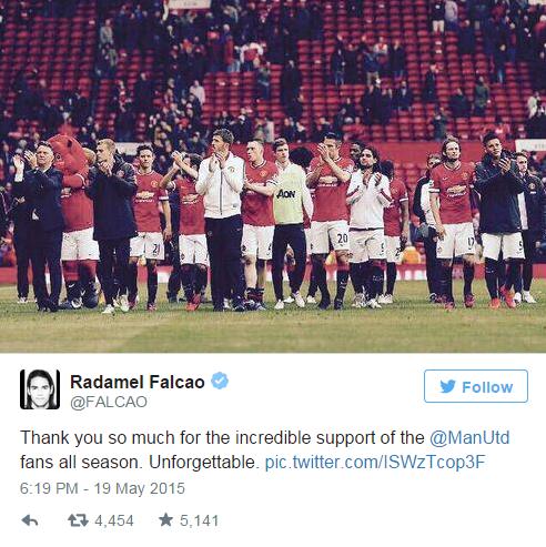 Radamel Falcao chia tay CĐV Man Utd trên Twitter cá nhân