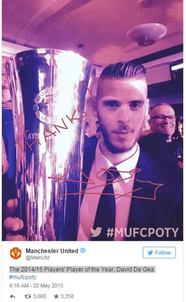 De Gea chia sẻ danh hiệu cầu thủ xuất sắc nhất Man Utd trên trang Twitter cá nhân