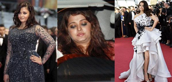 Hoa hậu Thế giới 1994 Aishwarya Rai từng gây sốc với thân hình phát tướng, chảy xệ sau sinh. Trông cô hoàn toàn thay đổi với thân hình nặng nề, gương mặt già đi rất nhiều với cằm hai ngấn chảy xệ. Người đẹp đã phải nỗ lực giảm cân để lấy lại vóc dáng như thời son rỗi. Cô gây ấn tượng khi có mặt tại sự kiện LHP Cannes năm nay.