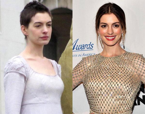 Anne Hathaway đã giảm 7 kg và cắt cụt tóc để hóa thân vào vai diễn Fantine đáng thương trong Những người khốn khổ.