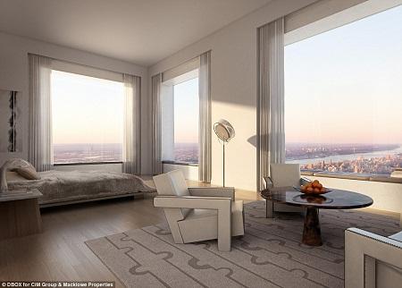 Với chiều cao 425m, những căn hộ cao cấp nhất nằm ở những tầng trên cùng của tòa nhà 432 Park Avenue luôn tận dụng những ô cửa sổ lớn để vị chủ nhân có thể chiêm ngưỡng cảnh vật thành phố New York, từ phòng tắm, phòng khách cho tới phòng ngủ.