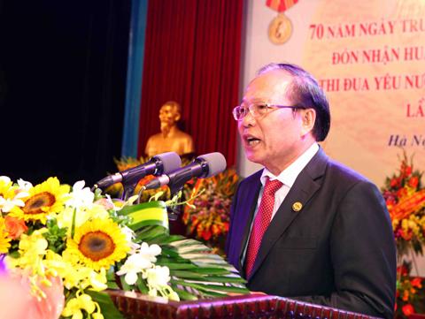 Bộ trưởng Bộ Văn hóa, Thể thao & Du lịch Hoàng Tuấn Anh phát biểu tại buổi lễ. Ảnh: Quý Trung- TTXVN.
