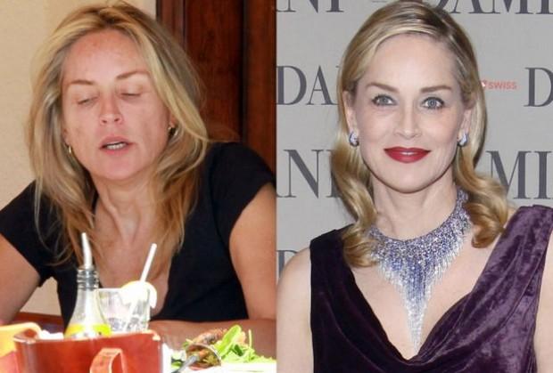Ở tuổi 57, Sharon Stone thể hiện rõ những nếp nhăn của thời gian khi không có phấn son.