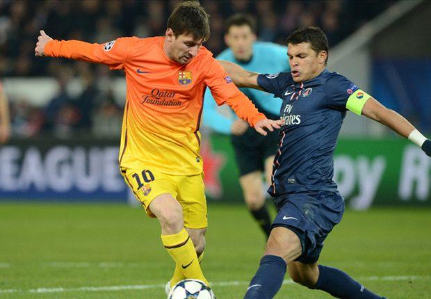 PSG có trung vệ đội trưởng Thiago Silva nhưng HLV Blanc vẫn ái ngại khi đối mặt với Messi (trái).