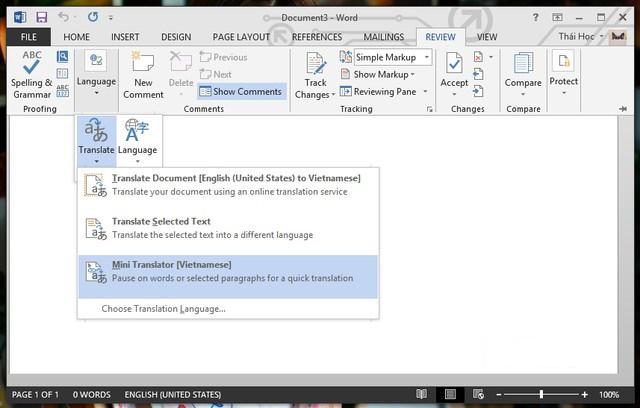 Nhấn vào Mini Translator để kích hoạt hộp thoại dịch nhanh