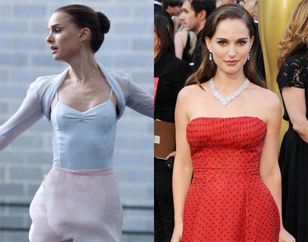 Natalie Portman mất 9 kg để đóng vai vũ công ballet trong phim Thiên nga đen (năm 2010).