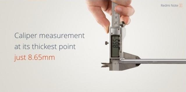 Redmi Note 3 chỉ dày 8,65 mm