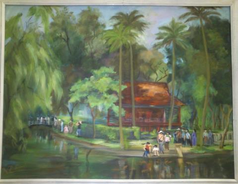 Trong vườn Bác, tranh của Nguyễn Kim Lan.