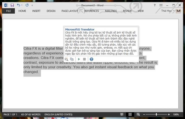 Bôi đen đoạn văn bản để kiểm tra bản dịch tương ứng