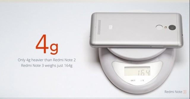 Redmi Note 3 nặng hơn 4g so với phiên bản tiền nhiệm