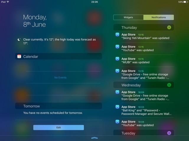 Giao diện thông báo nằm ngang trên iPad