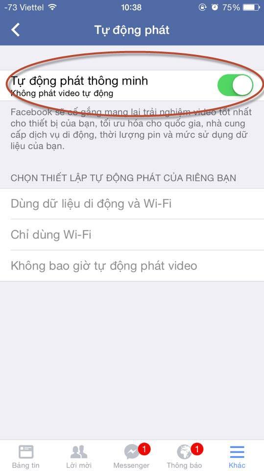 Cách tắt chế độ Facebook tự phát video trên iOS