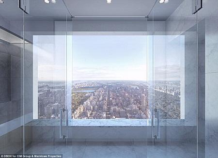 Cảnh vật New York nhìn từ một ô cửa sổ.
