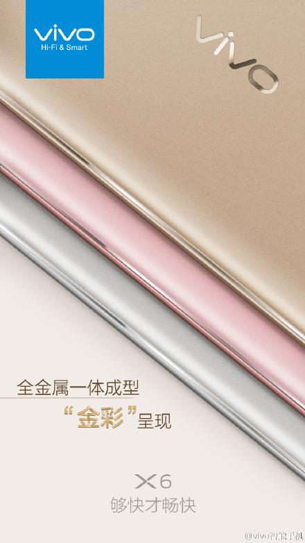 Vivo X6 sẽ ra mắt với 3 phiên bản màu sắc khác nhau