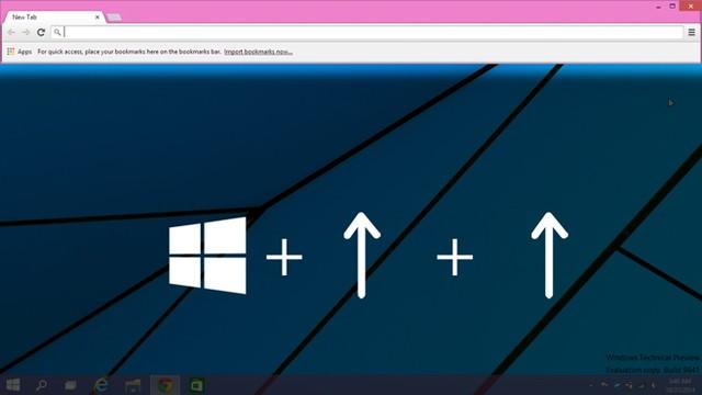 Cửa sổ Windows thu hẹp lại theo chiều đi lên