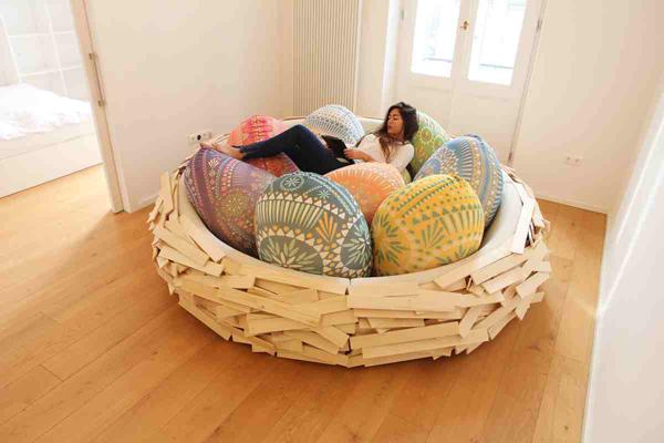Một sự thay đổi mới mẻ cho giường với cảm hứng từ vỏ trứng.