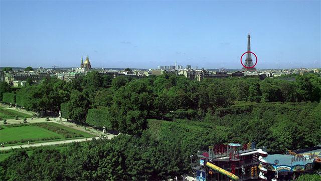 Phóng lớn hình ảnh tại tháp Eiffel cách vị trí chụp khoảng 3 km