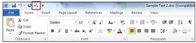 Biểu tượng loa trên Quick Access Toolbar