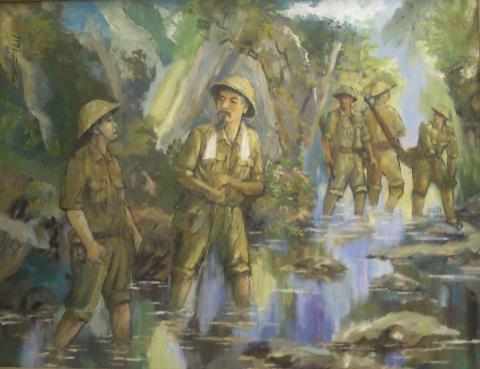Thị sát thị trấn biên giới 1950, tranh sơn dầu của Đoàn Văn Thân.