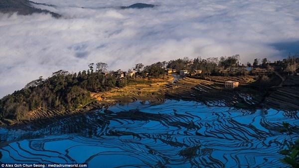 Những thửa ruộng bậc thang của thị trấn Nguyên Dương được bao quanh bởi những ngọn núi hùng vĩ.