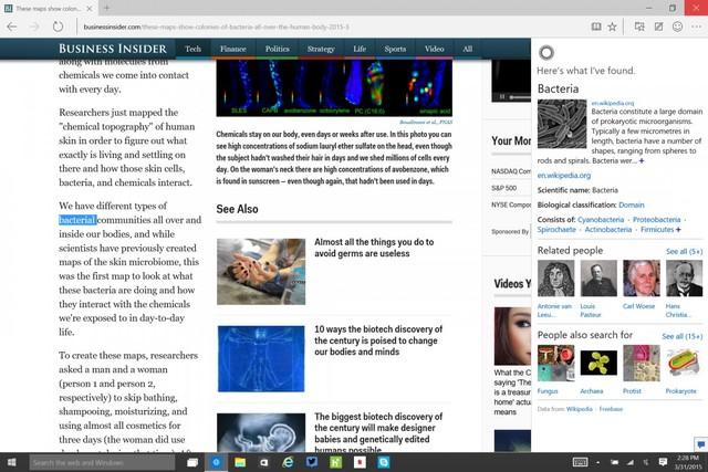 Người dùng có thể đánh dấu một từ và Cortana sẽ cung cấp thêm thông tin về những chủ đề liên quan đến từ đó