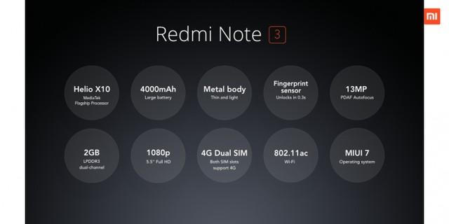Thông số cấu hình của Redmi Note 3