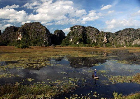 Khu bảo tồn thiên nhiên đất ngập nước Vân Long, Ninh Bình. (Ảnh: Le Bich)