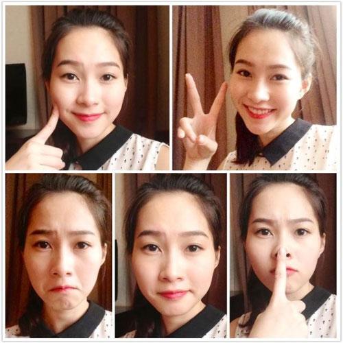 Trong các kiểu biểu cảm của khuôn mặt trông Hoa hậuThu Thảo đều xinh đẹp đáng yêu.