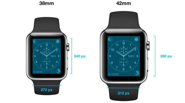 Apple Watch có 2 phiên bản với kích thước và độ phân giải màn hình khác nhau