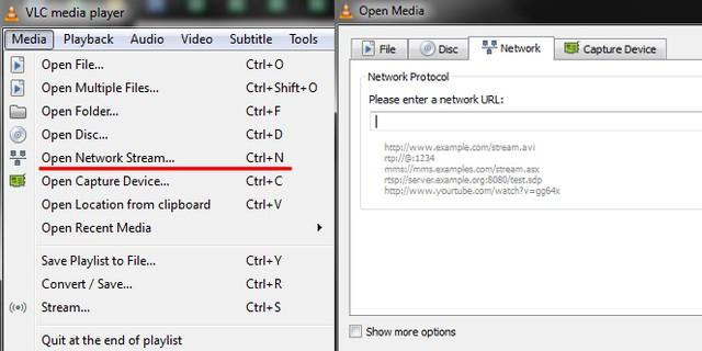 Xem trực tuyến sự kiện bằng cách nhập đường dẫn URL trên VLC Media Player