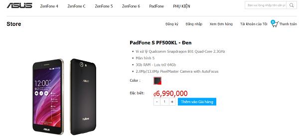 PadFone S đã chính thức có mặt trên ASUS Store với mức giá 6.990.000 VNĐ