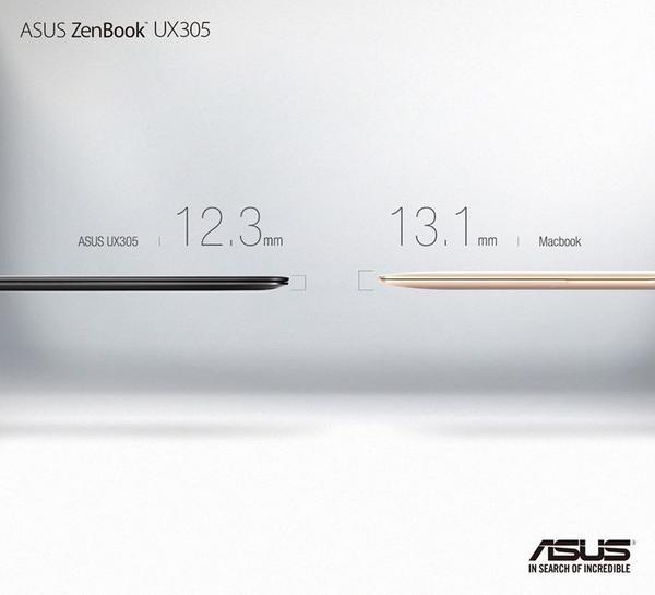 Asus chia sẻ hình ảnh so sánh ZenBook UX305 với MacBook mới