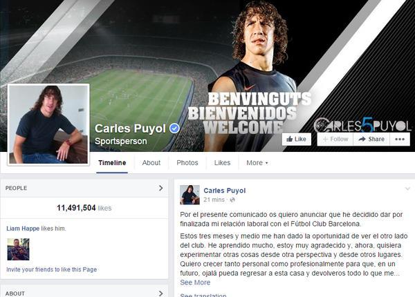 Thông tin về việc chia tay Barcelona được Carles Puyol chia sẻ trên Facebook bằng tiếng TBN.