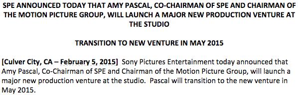 Thông báo về việc Amy Pascal từ chức