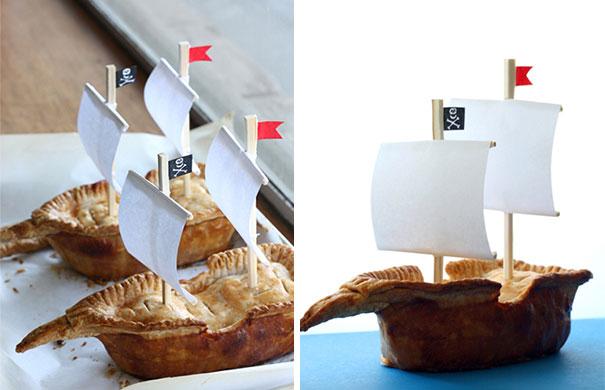 Bánh hình thuyền cướp biển tí hon.