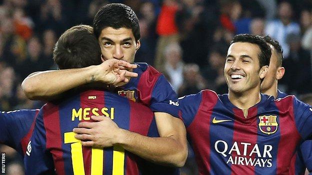 Messi và Suarez đang đạt phong độ cao trên hàng công của Barca.