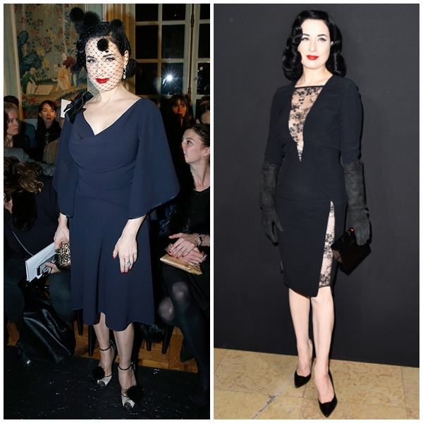 Kiều nữ Dita Von Teese luôn hấp dẫn và quyến rũ bởi vẻ đẹp cổ điển đài các. Phía bên trái cô xuất hiện tại show diễn của Alexis Mabille, còn bên phải là tại show diễn của nhà mốt Elie Saab.