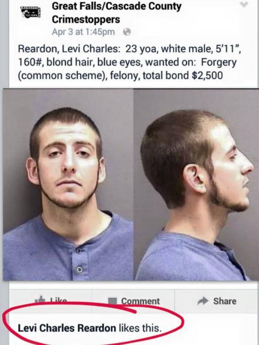 Ảnh truy nã của Reardon được đăng tải trên Facebook