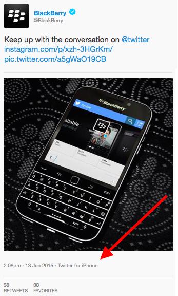 Hình ảnh quảng cáo chiếc BlackBerry Classic được đăng tải trên Twitter bằng iPhone